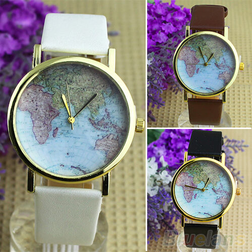 Women's World Map Round Dial Faux Leather Band Analog Quartz Wrist Watch