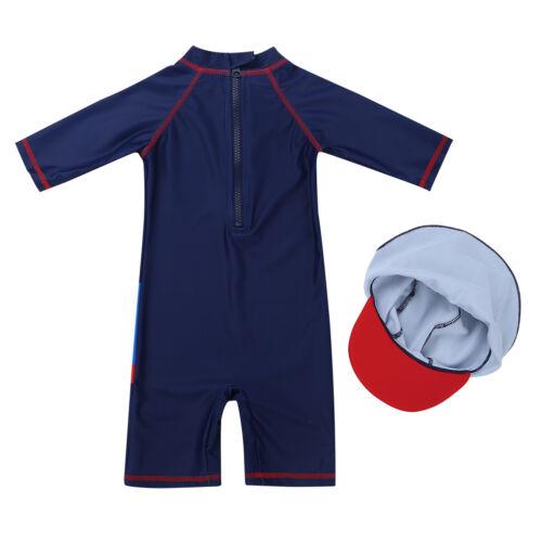 2PCS//3PCS Kids Boys Long Sleeve Rash Guard Swimsuit Tankini with Bottoms Cap Set