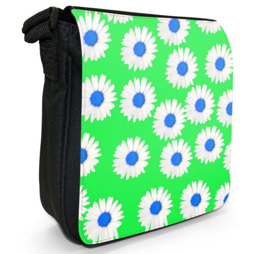 Dainty Daisies Small Black Canvas Shoulder Bag