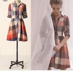 NEW-Anthropologie-moulinette-soeurs-reed-shirtdress-Red-Plaid-Dress-Size-12