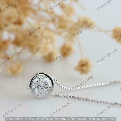 1 Ct Round Bezel Set Solitaire Moissanite Pendant Necklace 14k White Gold Over