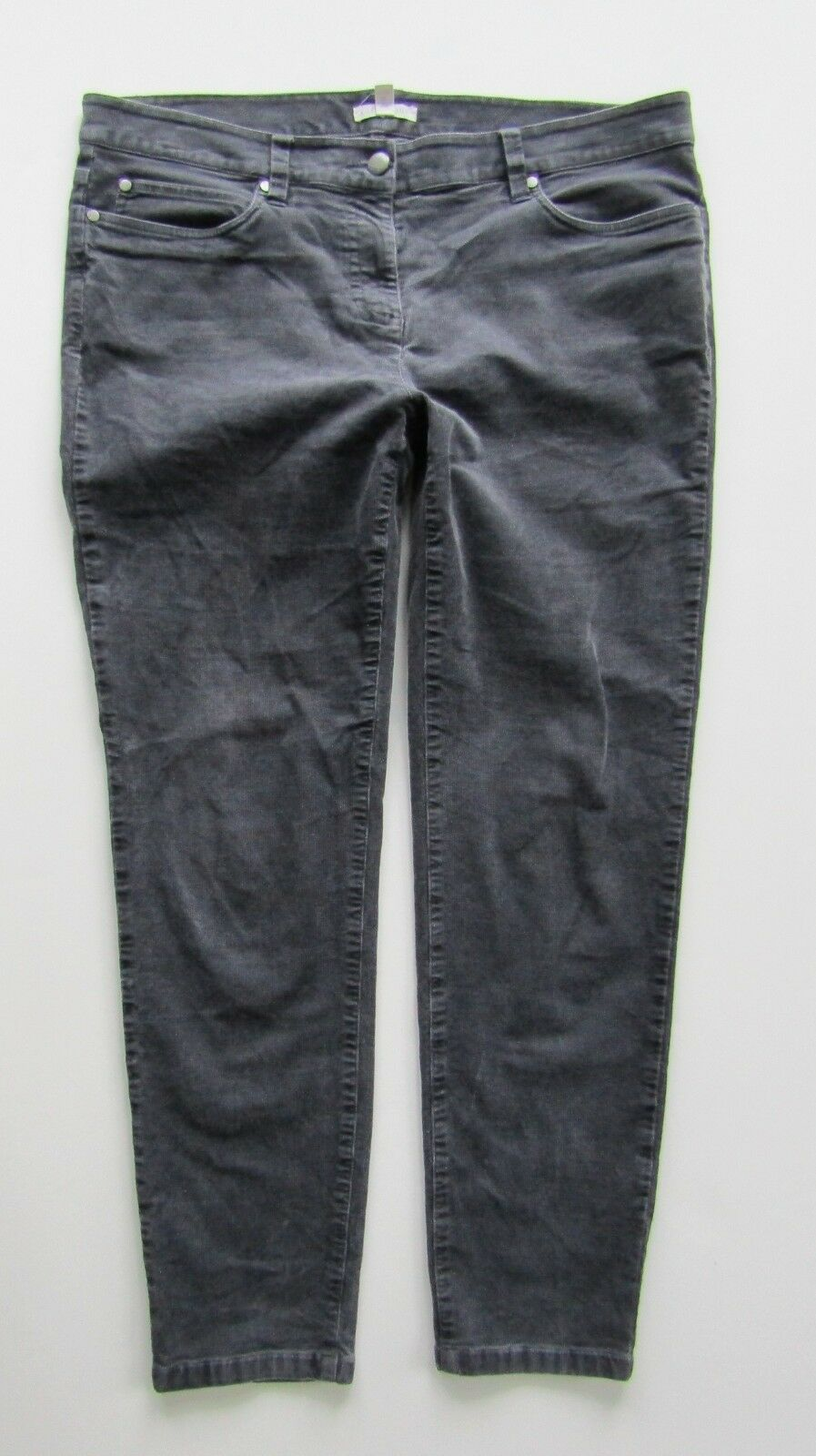 Eileen Fisher Skinny Ankle Organic Cotton Grey Corduroy Jean - Size 14 Petite