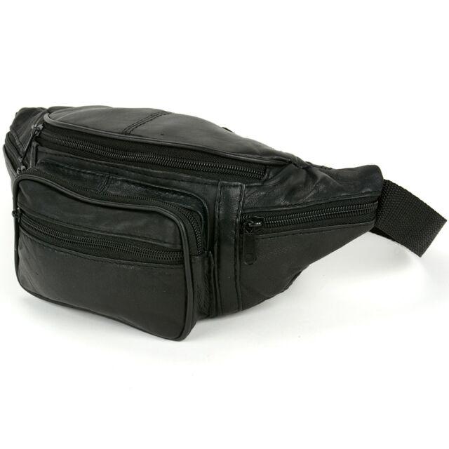 Black Genuine Leather Fanny Pack 6 Pocket Travel Waist Belt Bag Pouch Purse 564A