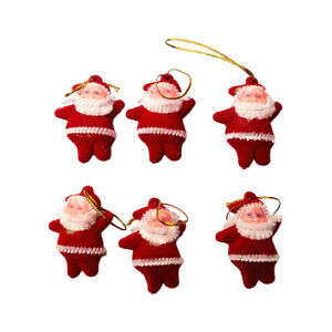 6PCS Christmas Tree Hanging Mini Red Santa Claus Dolls ...