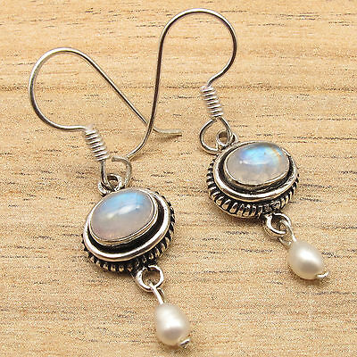 Real RAINBOW MOONSTONE Gems & PEARL Beads Chandelier Earrings, 925 Silver Plated