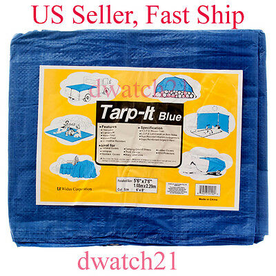 6x8 Blue Tarp Tarpaulin Poly Tent Canopy Cover Camping Ground Sheet