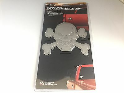 Chevy Bully Skull & Crossbone's Trim Stainless Steel Decal Emblem/3m Adhesive
