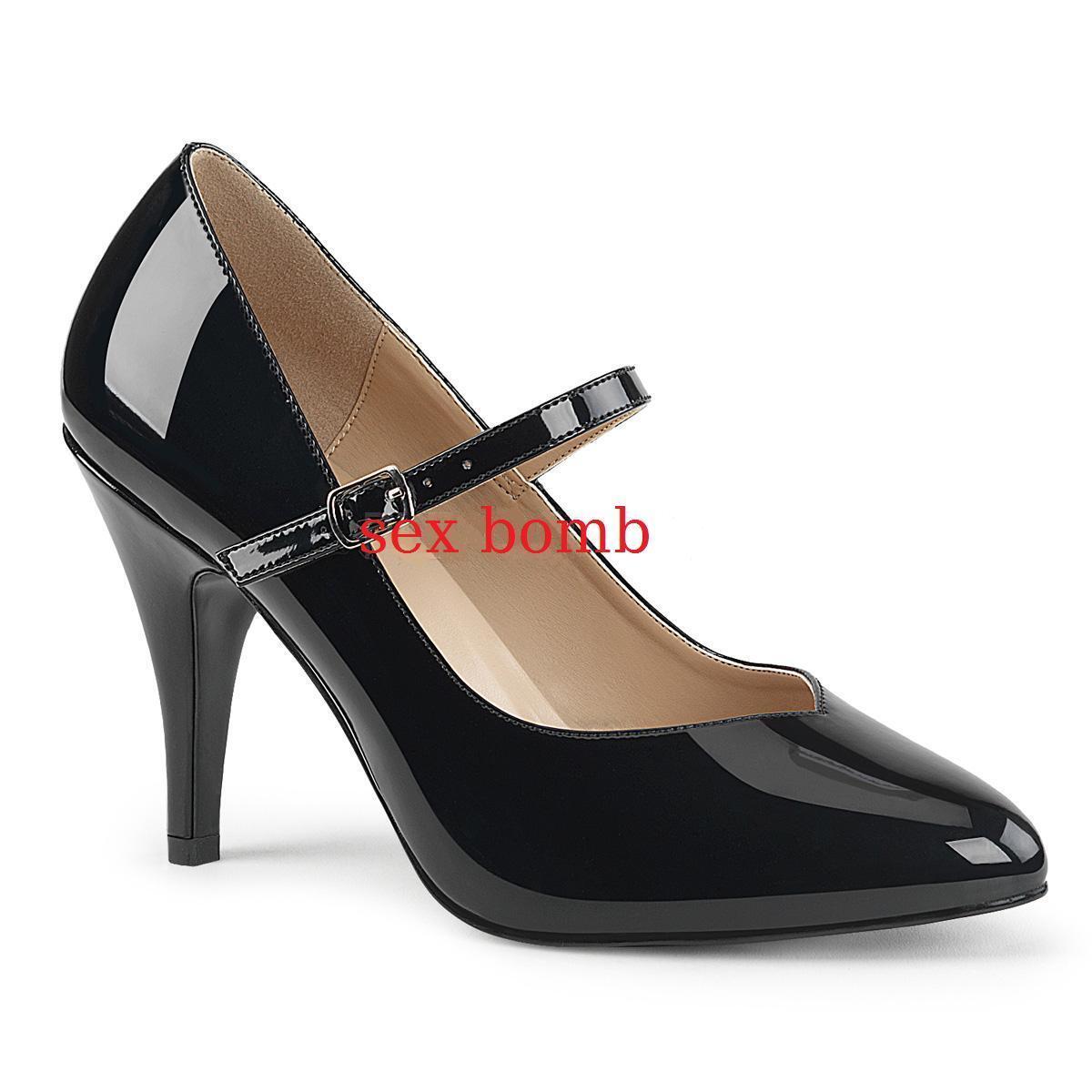Sexy DECOLTE' tacco 10 dal 39 al 47 NERO LUCIDO cinturino scarpe fashion GLAMOUR