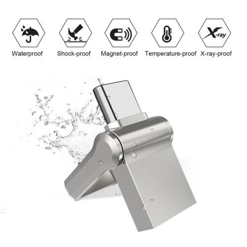 32GB Type-C Dual OTG USB 3.0 Flash Drive Mini Memory Stick Waterproof High Speed