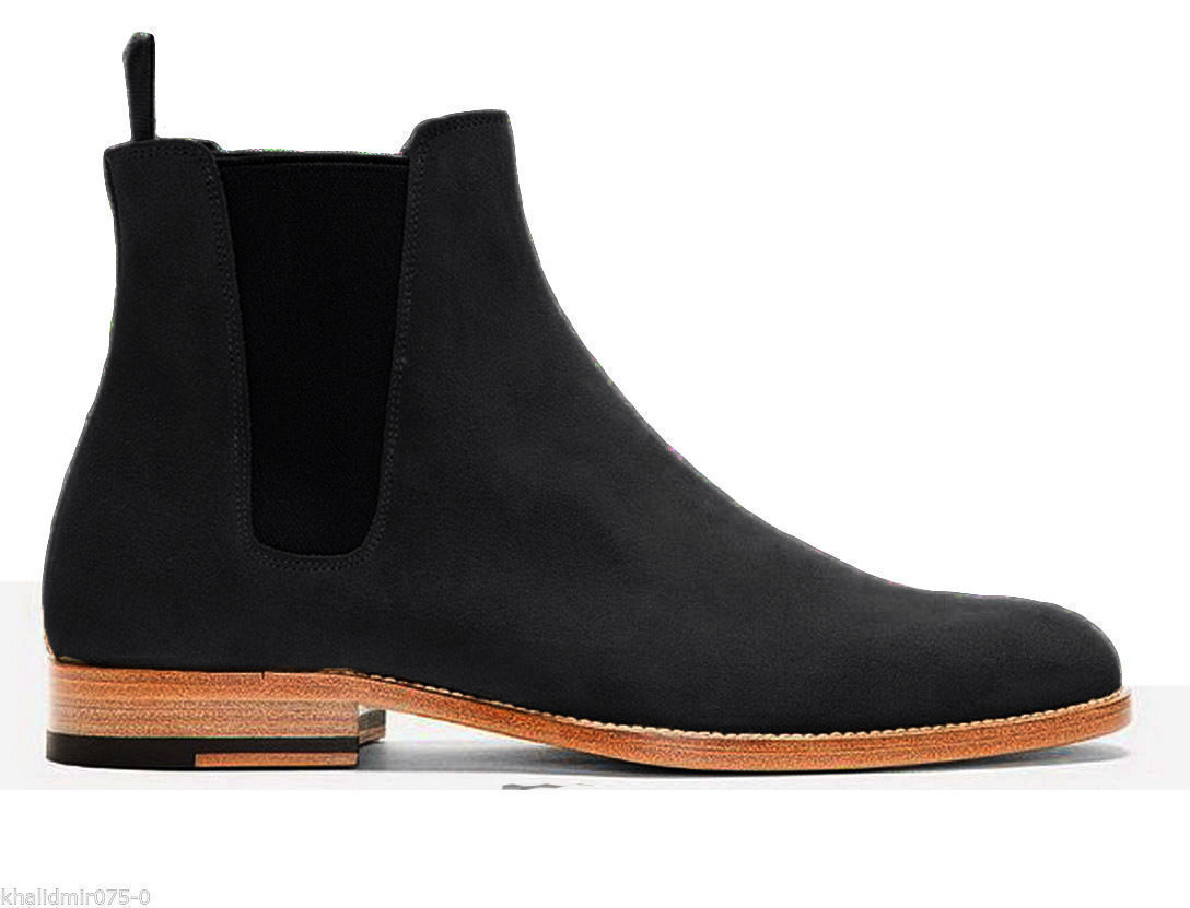 MEN HANDMADE CHELSEA SUEDE LEATHER HUNTER BLACK BOOT FOR MENS