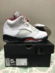 223cde3ba14a Nike Air Jordan 5 Retro GS  440888-100  Basketball White Fire Red ...
