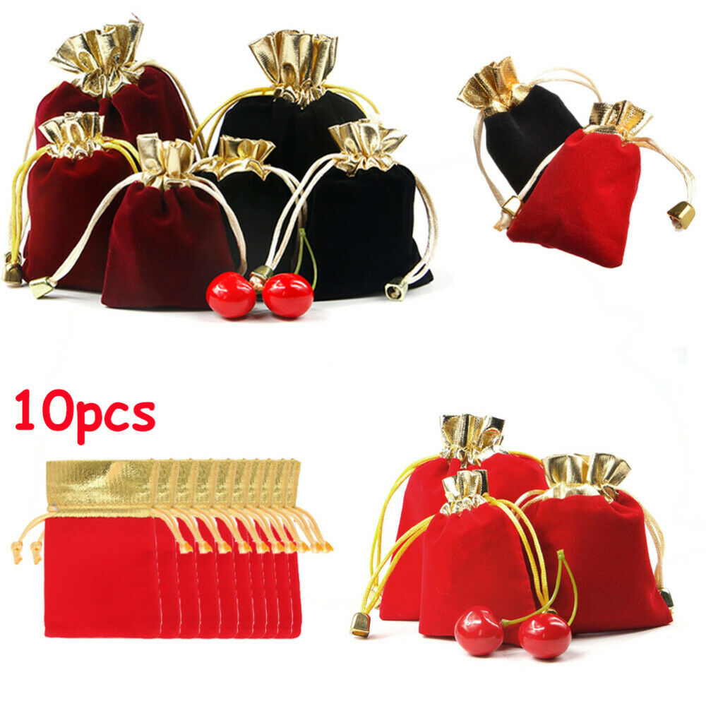 """10pcs Small 3/""""x4/"""" Velvet Bags Jewelry Wedding Party Favors,Drawstring Pouch"""