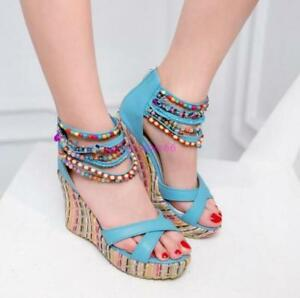 5c80cee65aee Boho Womens Beads Open Toe Sandals Wedge Heel Back Zip Platform ...