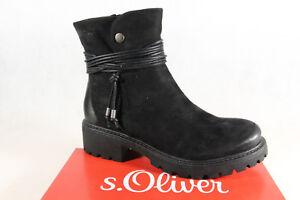 a286b1dfd6f0 Das Bild wird geladen s-Oliver-Damen-Stiefelette-Stiefel-Winterstiefel- schwarz-mit-