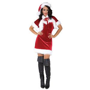 Adult-Women-039-s-Red-Mrs-Claus-Christmas-Party-Costume-Fur-Dress-Capelet-Santa-Hat