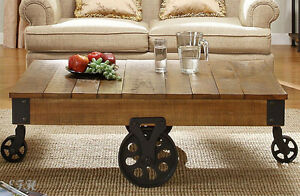 Fabulous Details About New Fargo Rustic Brown Finish Plank Top Wood Wrought Iron Coffee Table W Wheels Short Links Chair Design For Home Short Linksinfo