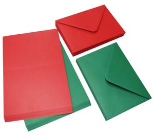 40 Rosse e Verdi C6 Vuoto Saluti Cartoline & Buste Natale Colori Craft 2062