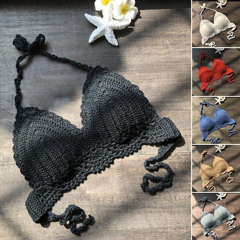 Sexy Bikini Damen Sommer Bh Baumwollmischgewebe Top 6 Farben Hand-Crocheted Band