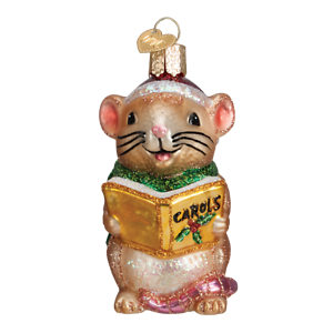 Old-World-Christmas-CAROLING-MOUSE-BROWN-12427-N-Glass-Ornament-w-OWC-Box