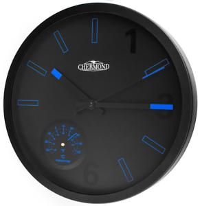 Quartz-wall-clock-CHERMOND-temperature-metal-case-black-dial