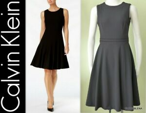 NWT-CALVIN-KLEIN-Size-2-Grosgrain-Ribbon-Trim-Sleeveless-Fit-amp-Flare-Dress