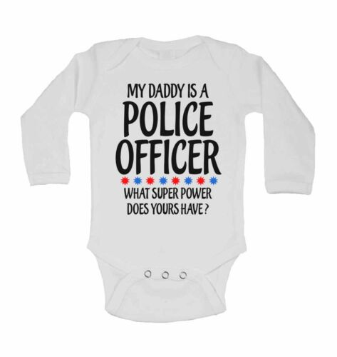 Long Baby Vest My Daddy Is A Police Officer What Super Power Does Yours Have?