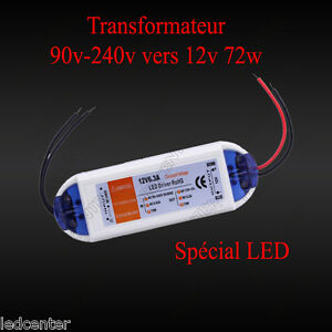 transformateur 6 3a 12v 72w led driver power supply ac 90 220v vers dc 12 volts ebay. Black Bedroom Furniture Sets. Home Design Ideas