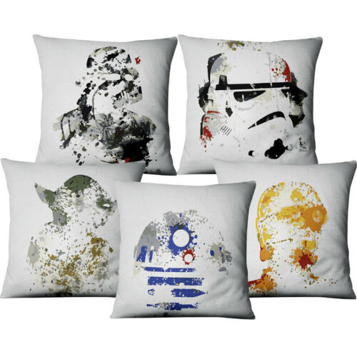 Watercolor Star Wars Printed Throw Pillowcase Cushion Cover Cartoon Cushion Case