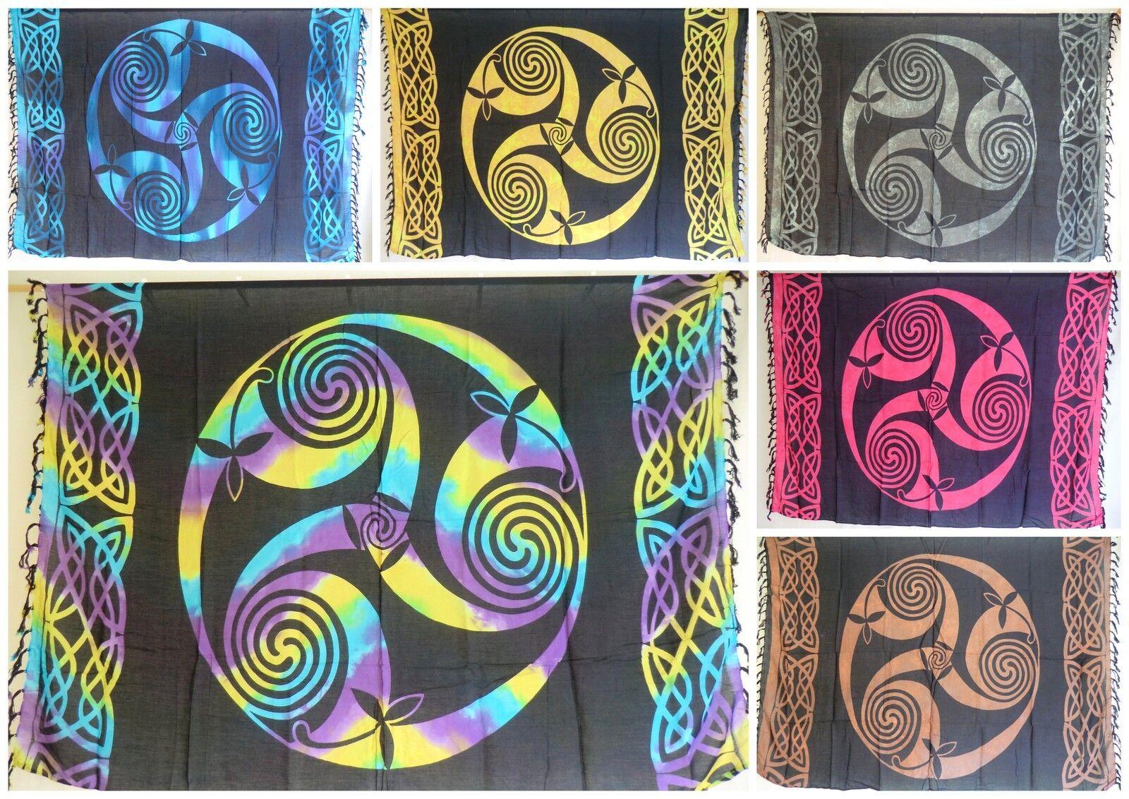 Sarong Pareo Strandtuch Tuch Schal Halstuch Rock Tribel Tribal Triskel Spirale