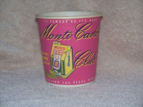 Monte Carlo Club Vintage Casino Slot Machine Paper Coin Cup Las Vegas Nevada