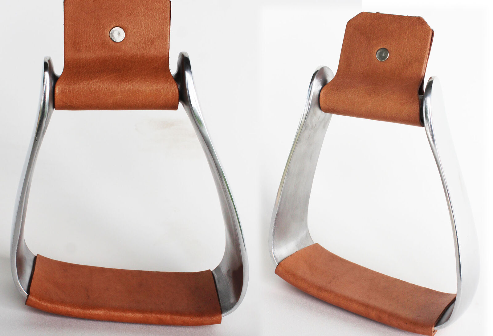 Horse  Saddle Angled Slanted Sloped Aluminum Stirrups Leather 5195  online retailers