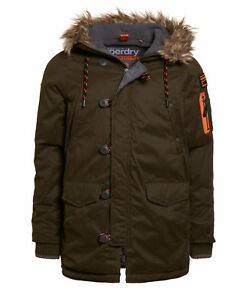 New-Mens-Superdry-Microfibre-Parka-Coat-Dark-Army