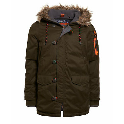 New Mens Superdry Microfibre Parka Coat Dark Army
