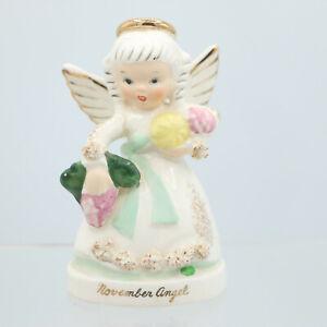 November Birthday Angel Figurine Fruit Foil Napco Japan Sticker A1371