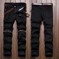 Fashion Men's Slim Fit Straight-Leg Jeans Trousers Casual Pencil Business Pants
