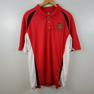 NCAA By KA Maryland Terrapins Mens Size XL Red White Golf Polo Dri Fit Casual