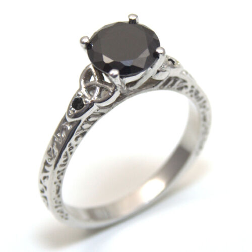 Anillo Celta Nudo Trinidad 1.5ct Diamante Negro 4 plata esterlina Garra