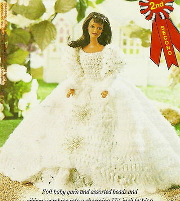 LOVELY Fashion Doll Beaded Rosette Gown/Doll Outfit/Crochet Pattern Instructions
