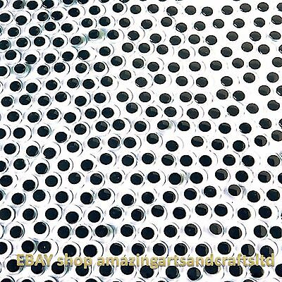 15mm Wiggle Wiggly Googly Eyes Black Self Adhesive 96 Craft Crafts Sticky Moving