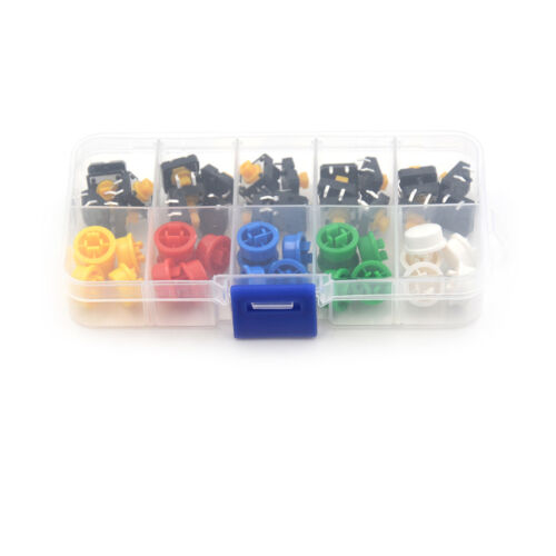 25Set Momentary Tactile Push Button Touch Mini Switch 4P PCB Caps 12x12x7.3m JM