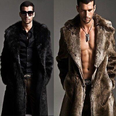 Men Faux Fur Coat Long Jacket Outerwear Winter Warm Luxury Overcoat Black