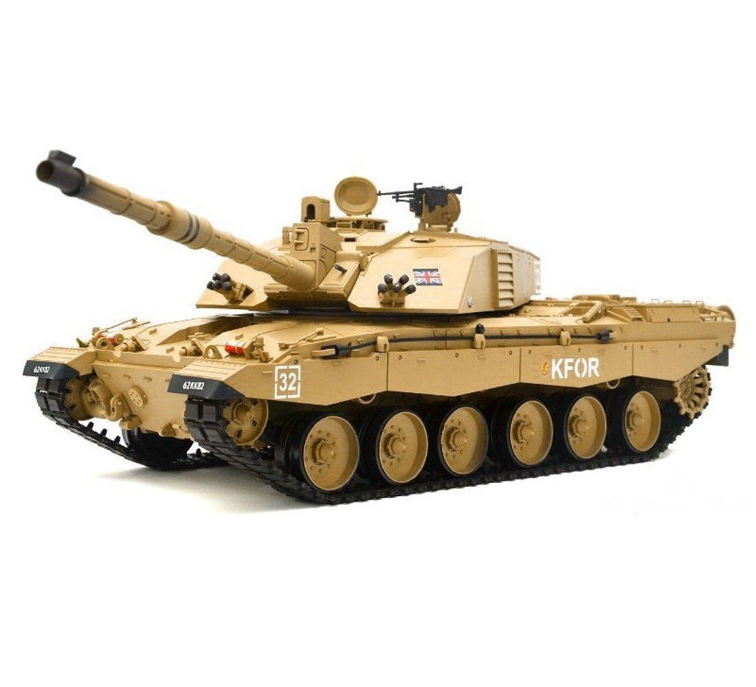 1 16 British Challenger 2 RC Tank Smoke & Sound Remote Control 2.4GHz New