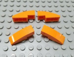 LEGO Lot of 4 Dark Red 3x1 Curved Slope Pieces