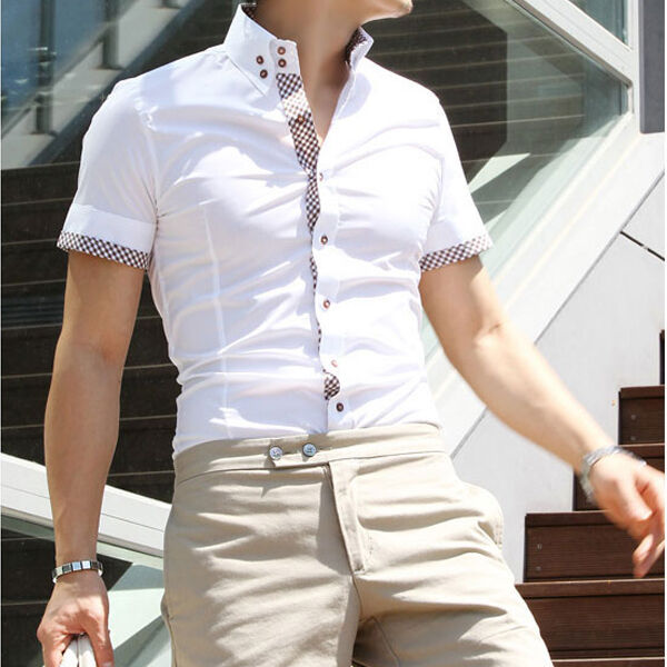 SSD45 New Mens Casual Luxury Dress Slim Fit Short Sleeves Shirts US XS,S,M,L,XL