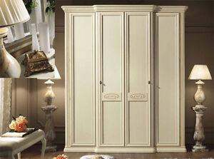 Kleiderschrank-4-tuerig-034-Siena-034-Elfenbein-Linde-Klassische-Schlafzimmer-Italien