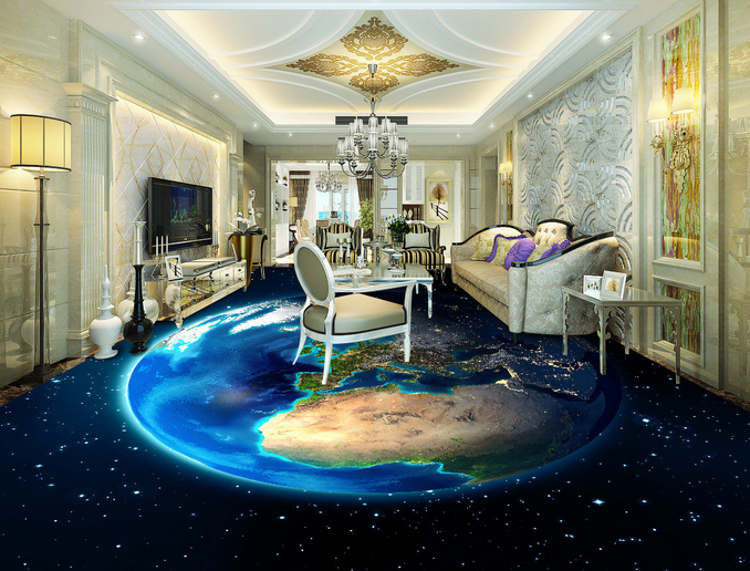 3D Bright Earth Galaxy 7 Floor WallPaper Murals Wall Print Decal AJ WALLPAPER US