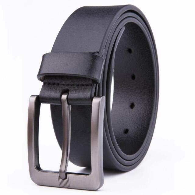 Dress Belt Men Black 1.5 Wide Real Leather Classy Comfy Casual Belts For Men
