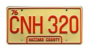 Dukes-of-Hazzard-General-Lee-CNH-320-STAMPED-Replica-Prop-License-Plate
