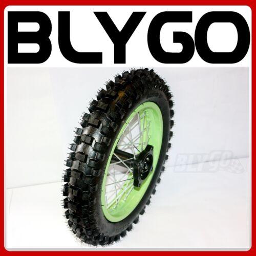 "GREEN 15mm Axle 3.00-12/"" Inch Rear Wheel Rim Knobby Tyre Tire PIT PRO Dirt Bike"