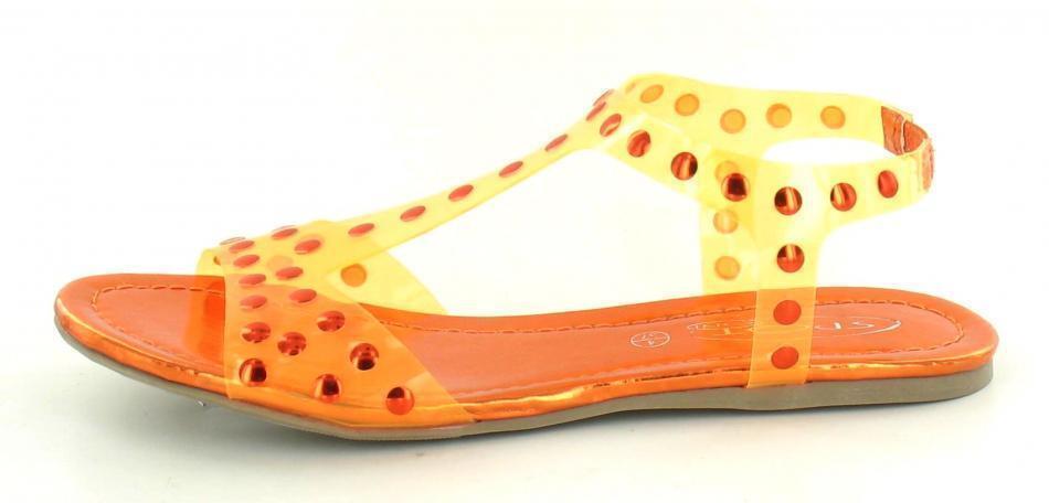femmes bout ouvert Sandale PVC F0663 orange style non F0663 PVC 727e08